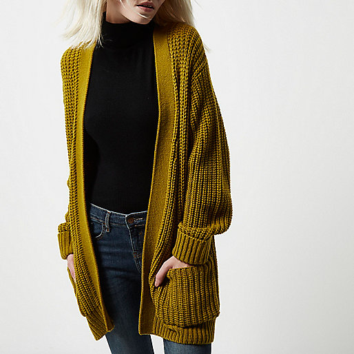 Petite green oversized chunky knit cardigan