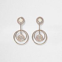 Rose gold tone circle drop earrings