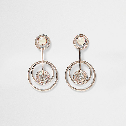 Pendants d'oreilles doré rose motif cercle