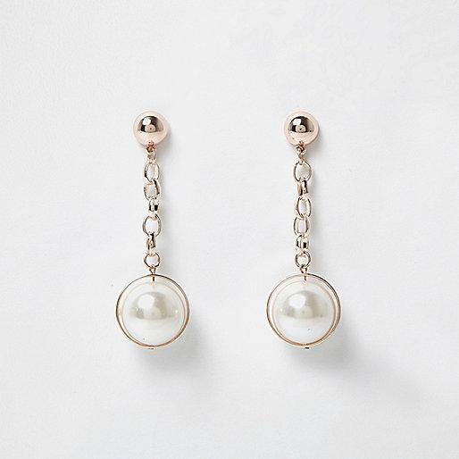 Boucles d'oreilles à girandole doré rose avec perles