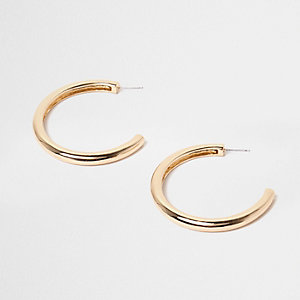 Gold tone chunky hoop earrings