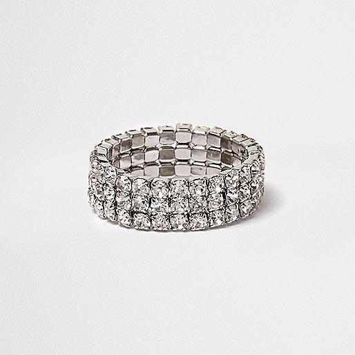 Weißer Kristall-Stretch-Ring