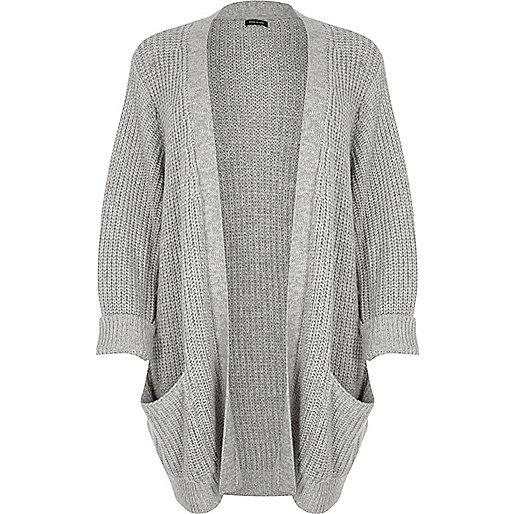 Plus grey chunky knit cardigan
