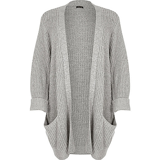Plus grey chunky knit cardigan