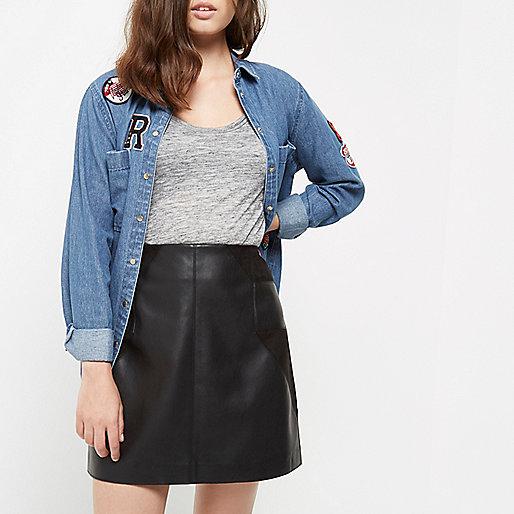 Petite black panel leather look mini skirt
