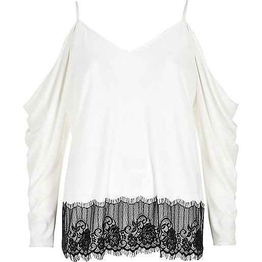 Cream ruched lace trim cold shoulder top