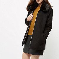 Petite black faux fur collar swing coat