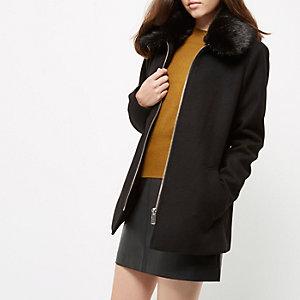 Manteau évasé noir à col en fausse fourrure Petite