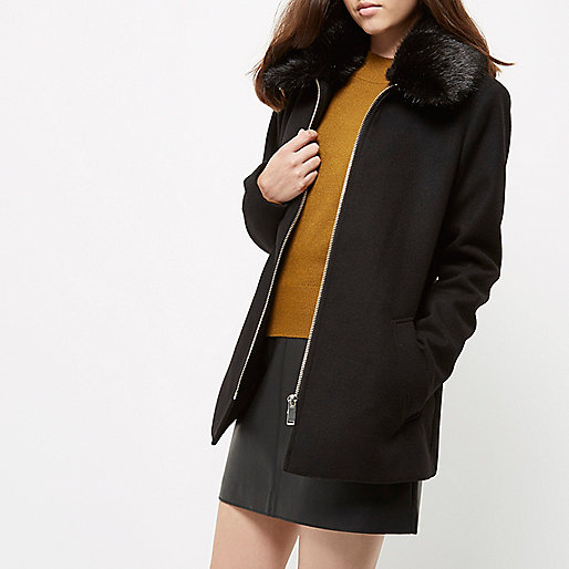 Petite black faux fur collar swing coat