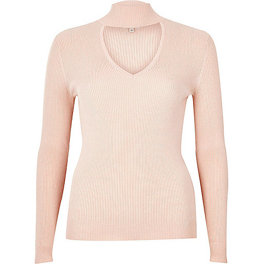 Light pink ribbed choker top