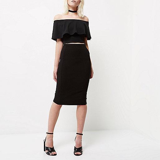Petite black panelled pencil skirt