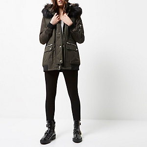 Petite khaki green hooded parka