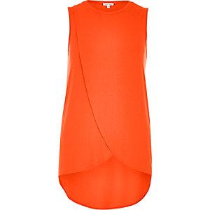 Orange wrap front tank top