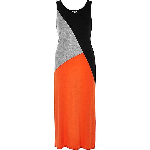 Orange color block maxi dress