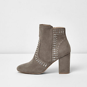 Stone stud block heel boots