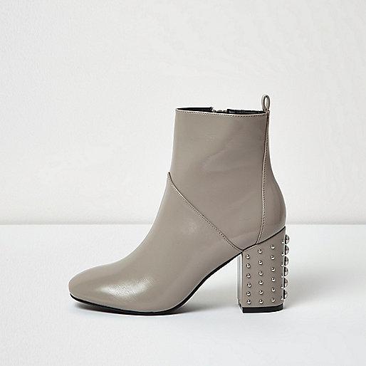 Grey patent stud heel boots