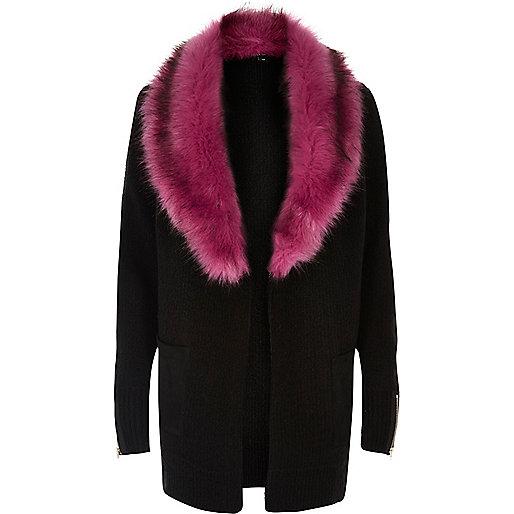 Black knit contrast faux fur collar cardigan