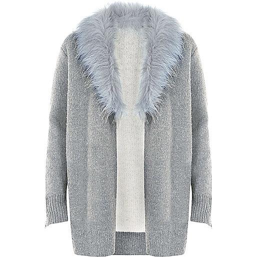 Grey faux fur collar cardigan