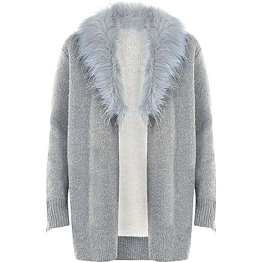 Grey faux fur collar cardigan