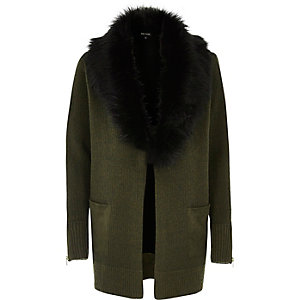 Khaki knit contrast faux fur collar cardigan