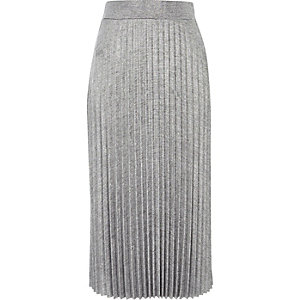 Silver pleated midi skirt
