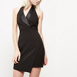 Petite black wrap tux dress