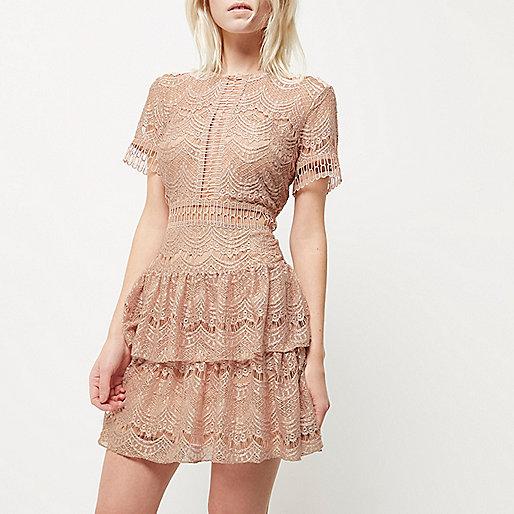 Petite nude frill lace dress