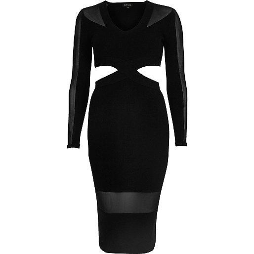 Bodycon-Kleid mit Netzstoff und Zierausschnitten