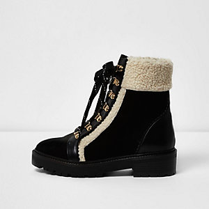 Black fleece trim ankle boots