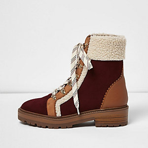 Brown panel fleece trim high ankle boots
