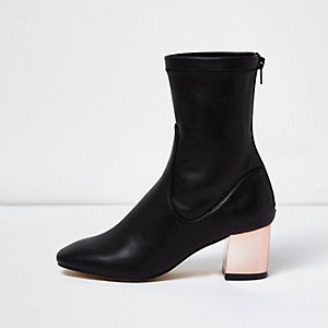 Black metallic block heel ankle boots