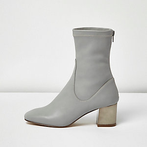 Grey metallic block heel ankle boots