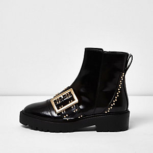Black patent buckle stud boots