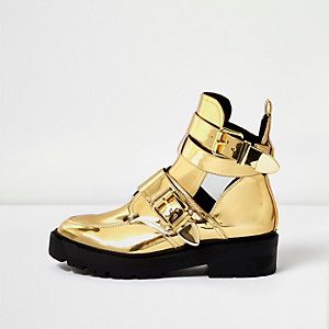 Gold patent chunky cut-out boots