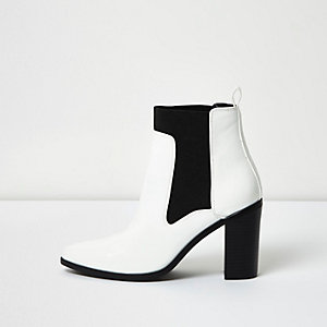 White contrast heeled ankle boots