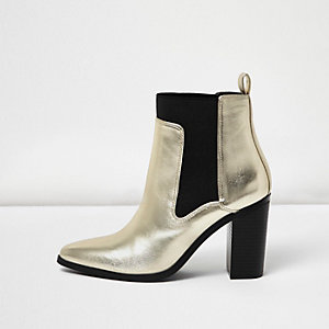 Gold metallic heeled ankle boots