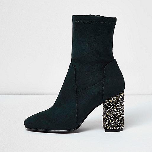 Dark blue panel glitter heel boots