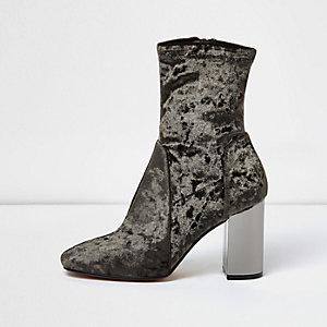 Khaki green velvet contrast heel boots