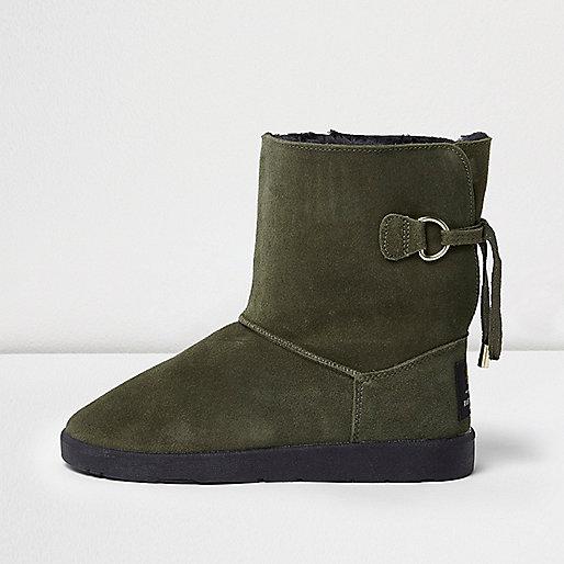 Khaki green suede faux fur trim soft boots