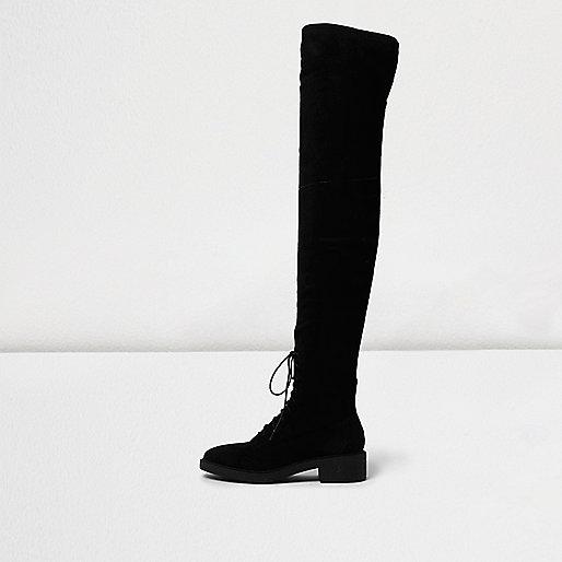 Schwarze Overknee-Schnürstiefel