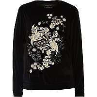 Black embroidered velvet sweatshirt