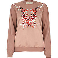 Besticktes Satin-Sweatshirt in Rosa