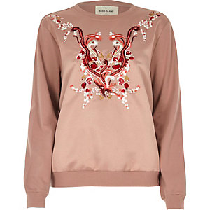 Sweat en satin rose brodé