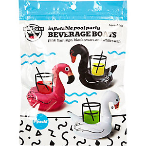 Flamingo and swan pool party beverage boats