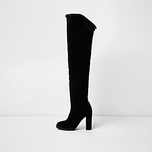 Black suede lined over-the-knee boots