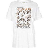 T-shirt blanc imprimé étoiles ornées de sequins