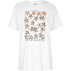 White star sequin embellished tee