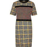 Yellow block dogtooth print dress