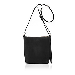Black leather suede panel messenger bag