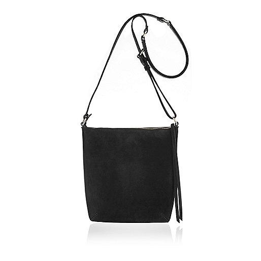 Schwarze Messenger-Tasche mit Wildledereinsatz